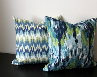 Decorative Throw Pillow Covers,Set of Two 16x16,18x18, Green Blue White Pillow Covers, Accent Pillow, Pillow Shams,Toss Pillows,Sofa Pillows
