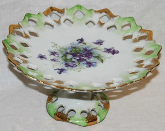 LEFTON PEDESTAL DISH- Reticulated/Pierced  Vintage Pedestal Dish- Pretty Purple Violets with Gold Gilding- Hand Painted Cake Plate- CosOfg