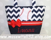 Quilted Navy Chevron with Baseball Applique Purse / Tote / Diaper Bag