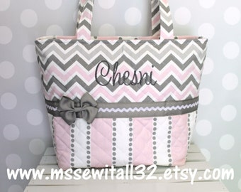 XL Gray / Pink Chevron and Stripes Quilted Purse / Tote / Diaper Bag