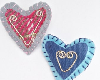 Heart felt and material brooches, grey, blue, hand stitched, wire brooch, jewellery accessory