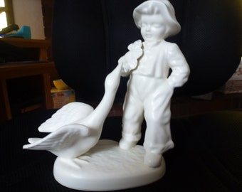 Vintage Matte White Boy and Swan Figurine  Made in Holland