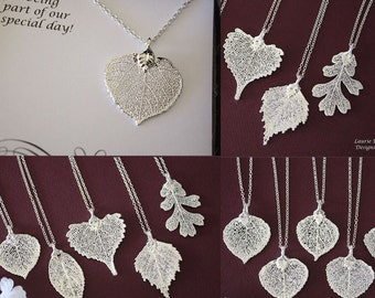 4 Bridesmaid Gifts, Bridesmaid Necklace,Thank You Necklace, Real Leaf Necklace, Aspen Leaf, Sterling Silver Necklace, Leaf Silver Necklace