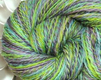 Handspun Yarn - Amethyst and Peridot - Falkland Wool, Worsted Weight, 230 yards