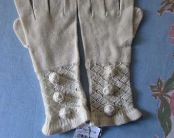 GLOVES new old stock NORSTROMS Ivory color/ soft 3/4 length high fashion