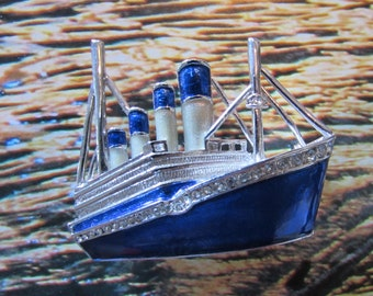 Vintage Enamel Rhinestone Steamship Necklace or Brooch/pin Blue Silver retro jewelry Boat queen mary