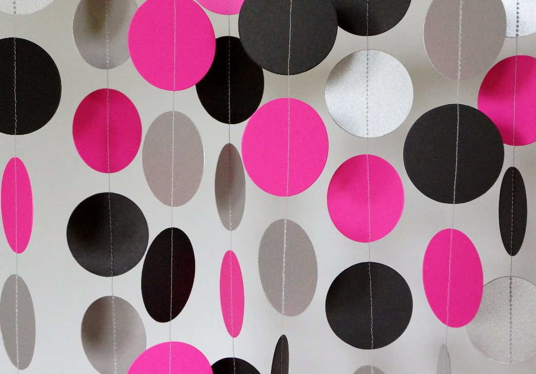 Hot Pink Black Silver Party Decoration Paper