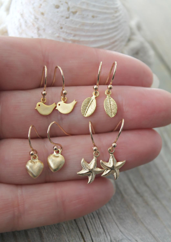Little girl earrings 14k gold filled dangle child by ...