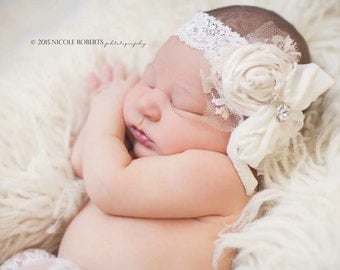 "SALE Special on our New... The ""Vanilla Whipped Cream"" silk Rolled Rosette Headband crystals, lace, silk rosettes Pearls"