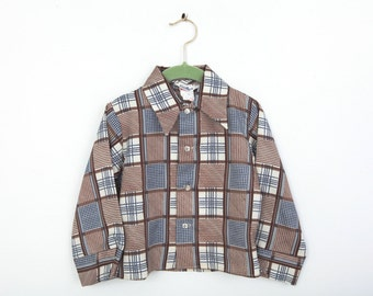Vintage Good Lad Plaid Shirt in Brown Blue and White 3T 4T