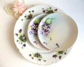 Vintage Mismatched Violets Dessert Plates Trio Nippon vintage serving plate cake plates porcelain china, tea party plates, porcelain china