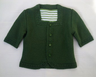 Women cardigan wool olive green short sleeves XS hand knitted sweater jacket