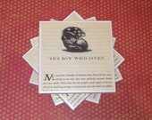 Harry Potter Coasters with Chapter Illustrations, Tile, Set of Four, Felt-Backed