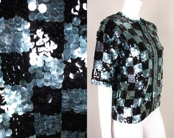 1960's CHECKERBOARD SEQUINED CARDIGAN Black & Blue Sequins on Wool Robinson's Vintage