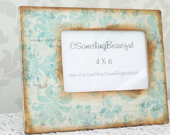 Teal Damask Picture Frame, 4X6, Shabby Chic, Wedding Centerpiece, Decor