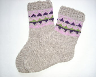 Hand Knitted Wool Socks -Colorful for Women - Size Medium-US W7-EU38