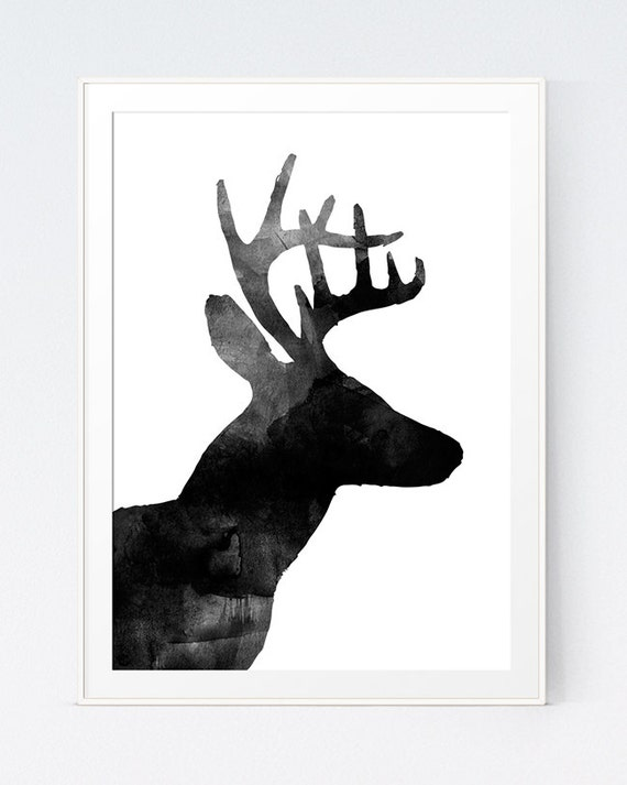 Deer print art rustic decor deer wall art antler deer for Black and white mural prints