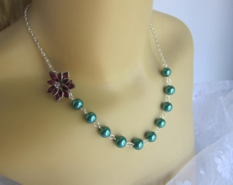 Peacock Bridesmaid Necklace Peacock Wedding Teal and Purple Wedding Fall Wedding