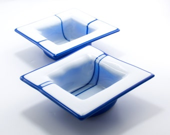 Soup Bowls, Chili Bowls, Unique Glass Bowls, Blue and White, Square Tableware, Modern Kitchenware, Bridal Shower Gifts for Couples