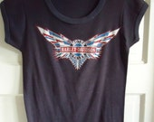 Vintage 70s/80s Harley Davidson French Cut Bike Shop Women's Top sz S