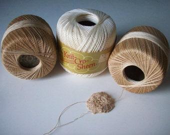 Vintage Crochet Yarn Cotton Crochet Yarn 3 Rolls of J&P Coats Yarn