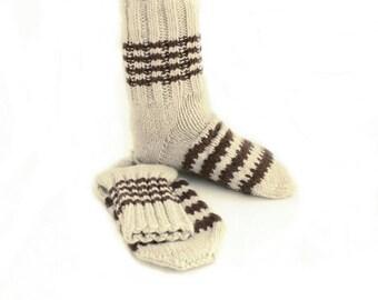 Warm Wool Men Socks. Knitted Bulky Wool Yarn Socks. L size.
