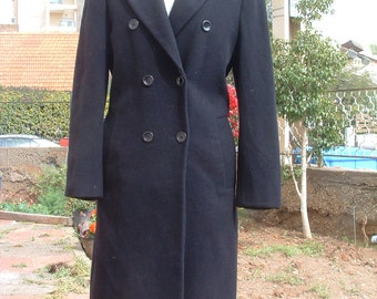 free shipping CASHMERE WOOL coat maxi  dark blue made in Austria never been worn circa 1995's