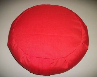 """Red Zafu Meditation Cushion. Floor Pillow. Orange Red Poly Twill fabric. 15x5. UNFILLED Cover Only. 6"""" Sidewall Zipper. USA made"""
