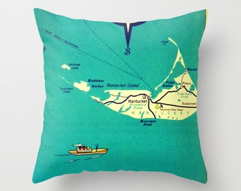 Nantucket Map Pillow Cover 18x18, Nantucket Art Pillow, MA Hostess Gift, Massachusetts Pillow, Massachusetts Gift, Decorative Pillow Gift