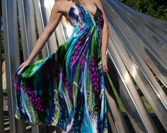 Women's Long Maxi Goddess Multicolored Printed Charmouse Open Back Summer Dress