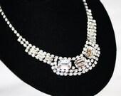 Vintage  Necklace Rhinestone Bib 1950s Jewelry Bridal Wedding Pagent