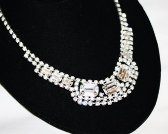 Vintage Clear Rhinestone Bib Necklace 1950s Jewelry Bridal Wedding Pagent