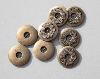 """10 Vintage 3/4"""" Heavy Cross Bar Metal Buttons. Brass Tone. Wreath, Vine Design. High Quality. Smooth Surfaces. Solid Metal. Item 3109M"""