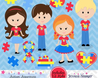 INSTANT DOWNLOAD, Autism Clipart or austim awareness clip art for personal and commercial use
