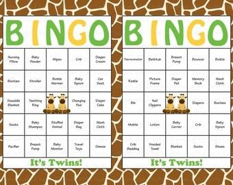 100 Baby Shower Bingo Cards - Printable Party Baby Boy Twins - Instant Download - Giraffe Baby Shower Gift Bingo TW017