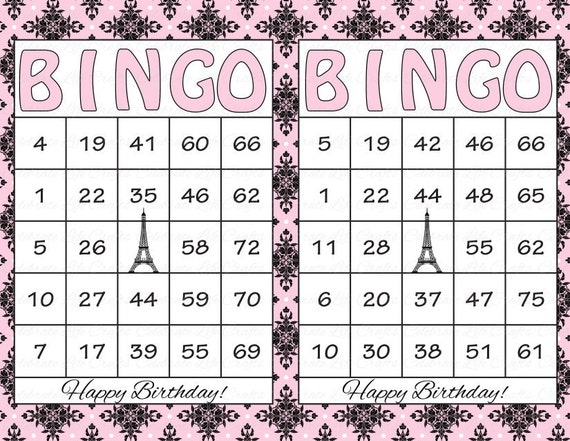 60 Birthday Printable Bingo Cards - Instant Download - Pink and Black ...