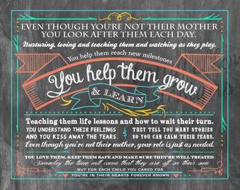Even Though You're Not Their Mother - Teacher or Daycare Provider Poem - Choose from 2 print options