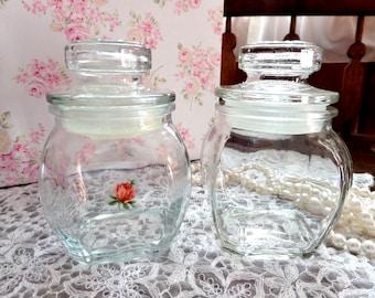 Vintage Vanity or Nursery Jar 2 Glass Jars Rosebud