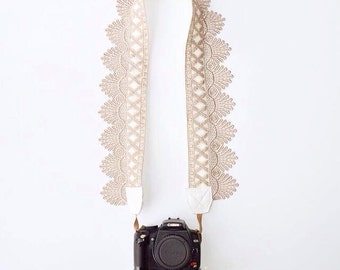 DSLR Camera Strap / Vintage Lace Camera Strap / Raw Sugar Lace / Photography / Accessory