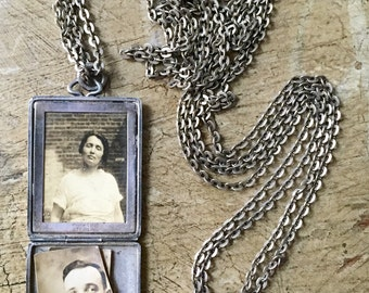 "Antique Sterling Locket Edwardian Necklace Late Victorian Photo Locket Vintage Lobster Claw Clasp Vintage Lorgnette Watch Chain 29-1/2"" Long"