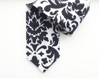 Damask Tie, Christmas Tie, Holiday Tie, Black and White Tie, Photo Prop, Little boy tie, Wedding ties