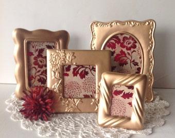 Beautiful Metallic Gold Ornate Frames - Set of 4 Table Top - 8 x 10, 4 x 6, 3 x 5