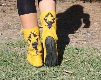Yellow n Purple Star Hopping Boots, Cosplay, Steampunk, Burning Man, Festival, Doof, Faery, Fairy, Pixie