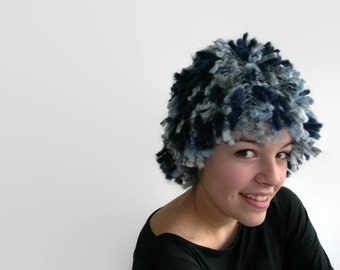 Knitted fringe hat. Knitted wig. Super Chunky.  Blue. Grey.