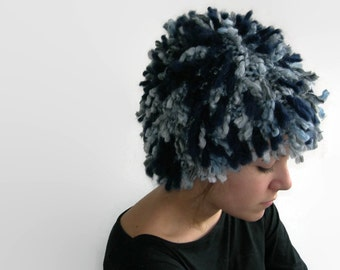 Hand knitted hat. Knitted fringe hat. Knitted wig. Super Chunky.  Blue. Grey.