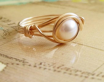 Gold Pearl Ring, Small Freshwater Pearl Ring, Wire Wrapped Jewelry, Rose Gold Pearl Ring
