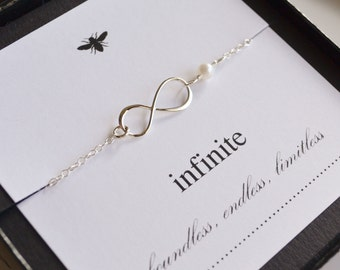 Sterling Silver Infinity Necklace with Freshwater Pearl....Friendship, Mother, Sister