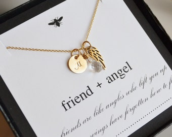 Personalized Monogrammed Friend Angel Wing Necklace with Gemstone/Birthstone Briolette.....Sister, Friend, Gold