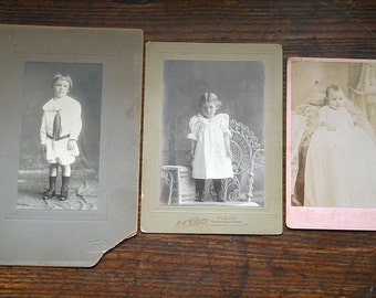 Antique Victorian pictures of children baby sepia black and white photograph
