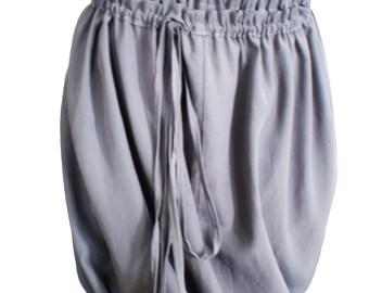 Multifunctional skirt, Grey draped cotton puffball skirt, summer dress versatile design